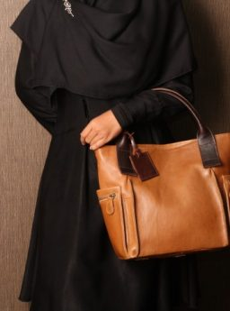 Rania Handbag on Camel with Darkbrown Strap