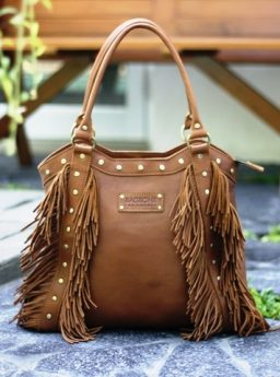 AMORA FRINGE handbag on Camel